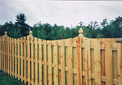 Shadow box fence with curve